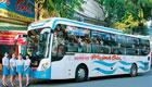 Exterior picture of Bus Type 7: Operated by Huynh Gia or Hanh Cafe. All use air-conditioned 35 berth sleeper buses.