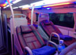 Interior picture of Vehicle Type 7: Operated by Huynh Gia or Hanh Cafe. All use air-conditioned 35 berth sleeper buses.