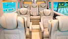 Interior picture of Vehicle Type 1034: 9 seater limousine minibus with comfortable business airline style reclining seats and personal USB chargers